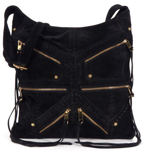 REBECCA MINKOFF Black Suede Multi Zip Crossbody Bag