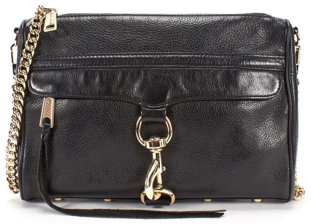 REBECCA MINKOFF Black Leather Gold Chain Studded Crossbody Shoulder Bag