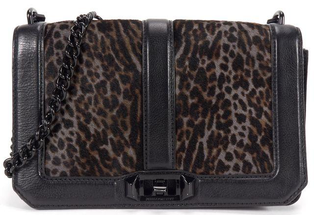 REBECCA MINKOFF Black Gray Leopard Calf Hair Leather Love Crossbody Bag