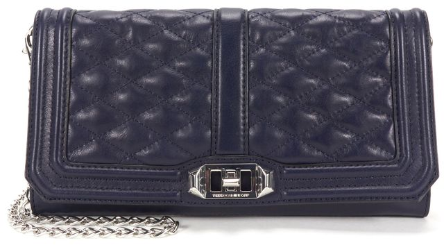 REBECCA MINKOFF Navy Quilted Leather Love Clutch Convertible Crossbody Bag