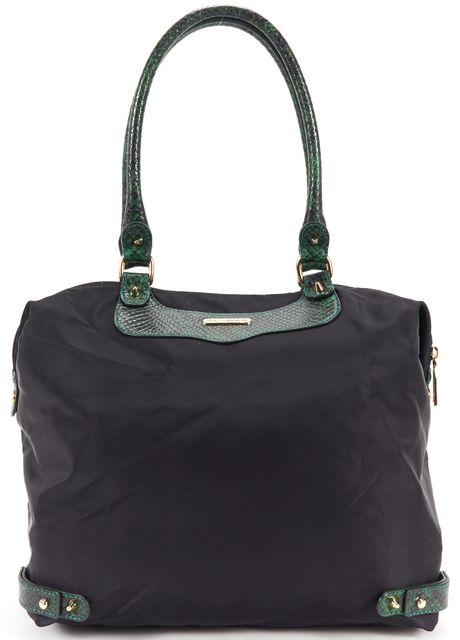 REBECCA MINKOFF Black Green Nylone Embossed Snakeskin Leather Tote Bag