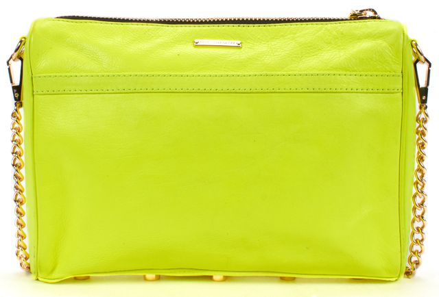 REBECCA MINKOFF Neon Yellow Leather 'M.A.C' crossbody bag