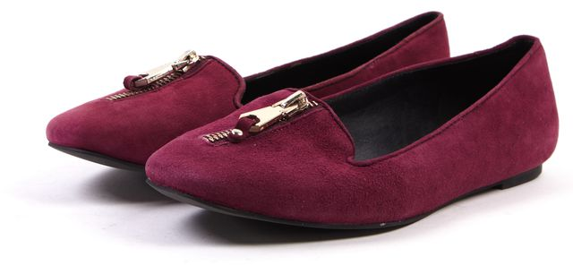 REBECCA MINKOFF Burgundy Red Zip Embellished Suede Flats