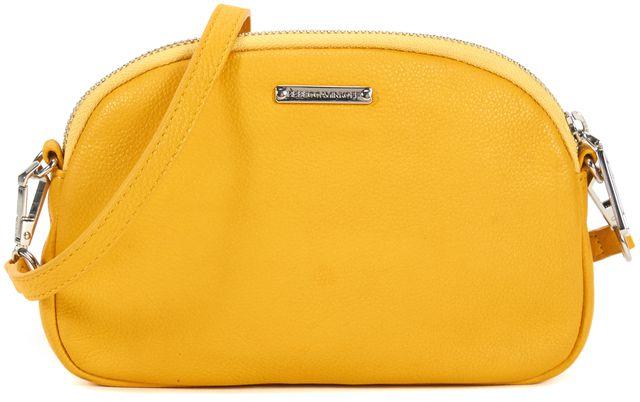 REBECCA MINKOFF Mustard Yellow Pebbled Leather Crossbody Shoulder Bag