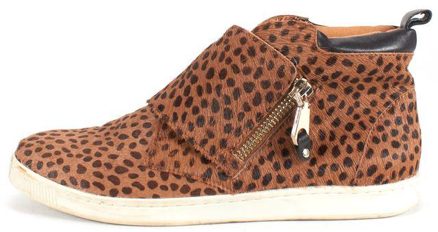 REBECCA MINKOFF Brown Leopard Print Pony hair Sneaker