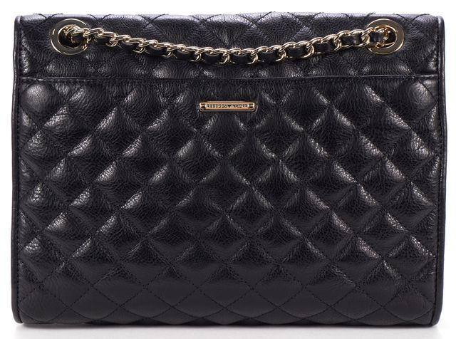 REBECCA MINKOFF Black Quilted Pebbled Leather Chain Shoulder Bag