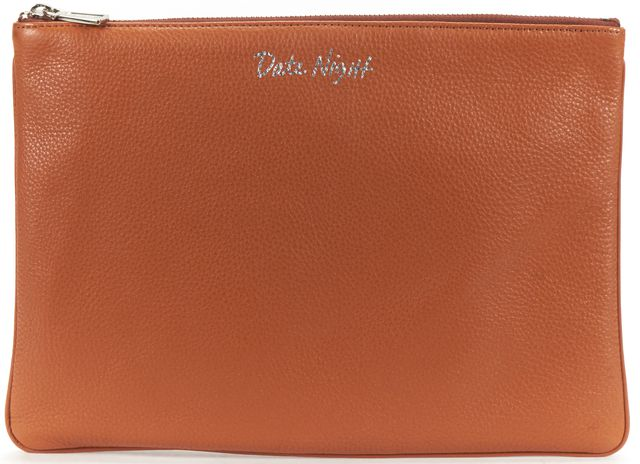 REBECCA MINKOFF Brown Pebbled Leather Clutch