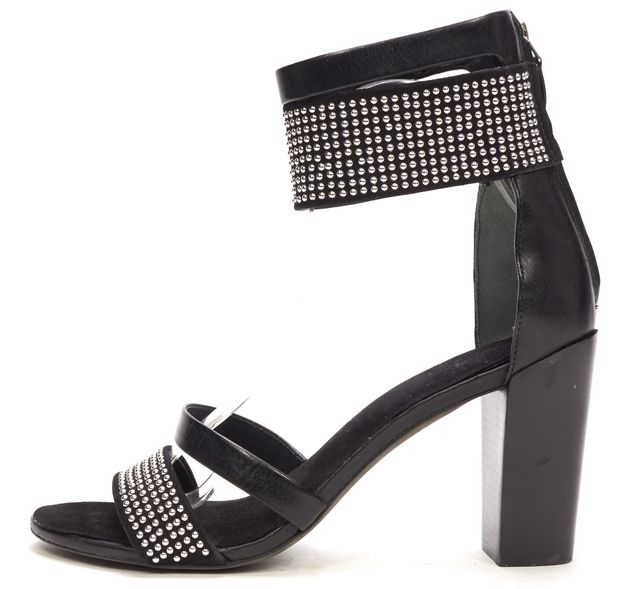 REBECCA MINKOFF Black Studded Leather Pump Sandal Heels