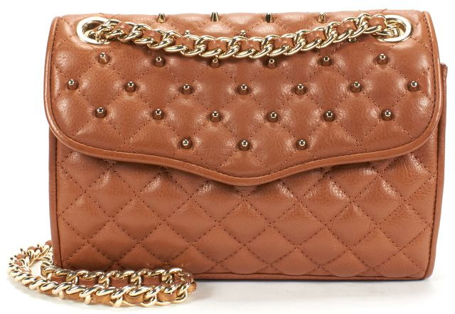 REBECCA MINKOFF Brown Quilted Studded Leather Chain Strap Shoulder Bag