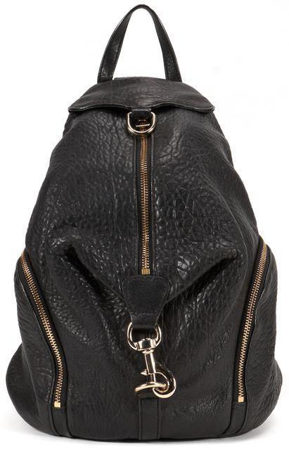 REBECCA MINKOFF Black Pebbled Leather Julian Backpack Bag