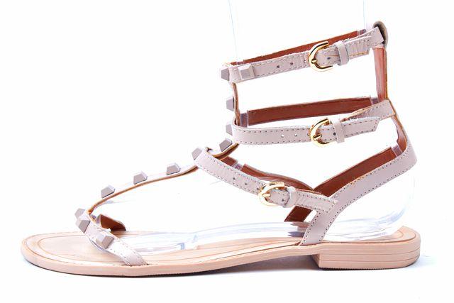 REBECCA MINKOFF Blush PInk Leather Stud Embellished Gladiator Sandals