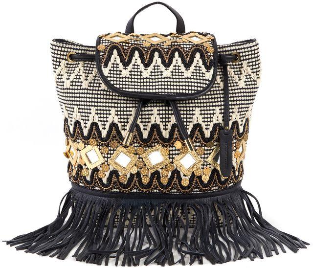 REBECCA MINKOFF White Black Gold Embellished Backpack