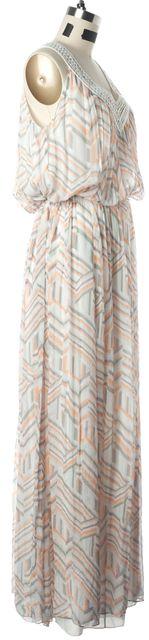 REBECCA MINKOFF Orange Purple Ivory Geometric Print Blouson Dress