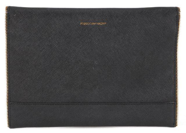 REBECCA MINKOFF Black Leather Zipper Envelope Clutch