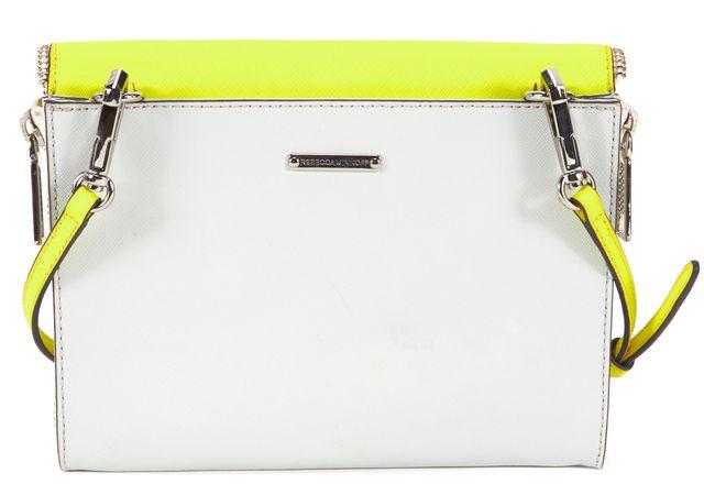 REBECCA MINKOFF Yellow Gray Leather Envelope Crossbody Bag