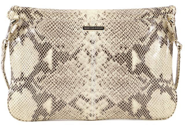 REBECCA MINKOFF Beige Snake Embossed Leather Envelope Crossbody Bag