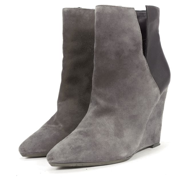 REBECCA MINKOFF Gray Suede Black Leather Wedges Ankle Boots