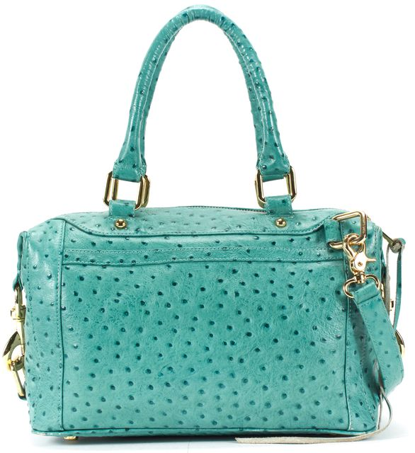 REBECCA MINKOFF Teal Blue Textured Leather Gold Hardware Satchel