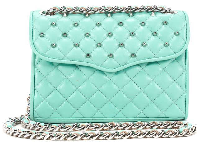 REBECCA MINKOFF Teal Blue Leather Quilted Studded Chain Strap Crossbody