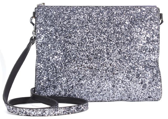 REBECCA MINKOFF Silver Glitter Black Leather Cross-body Bag Convertible Clutch
