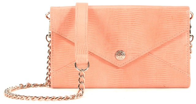REBECCA MINKOFF Orange Embossed Leather Gold Chain Envelope Clutch Crossbody