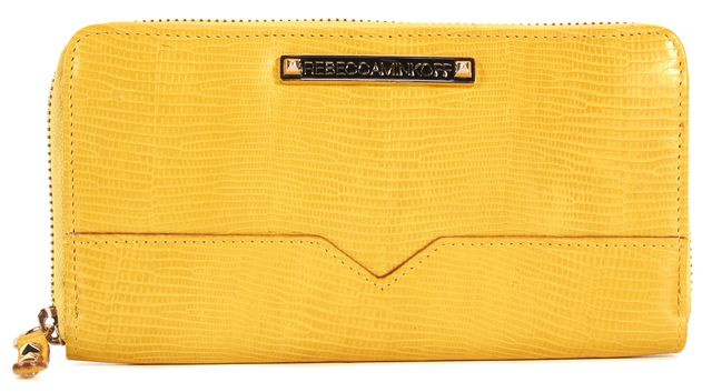 REBECCA MINKOFF Yellow Embossed Leather Studded Continental Zip Wallet