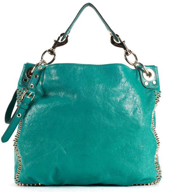 REBECCA MINKOFF Teal Blue Leather Gold Studded Satchel Shoulder Bag