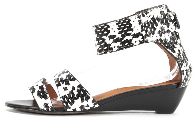 REBECCA MINKOFF Black White Snake Embossed Leather Mini Wedge Sandals