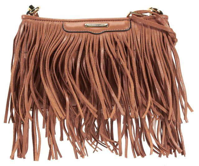 REBECCA MINKOFF Almond Brown Leather Fringe Finn Adjustable Strap Crossbody