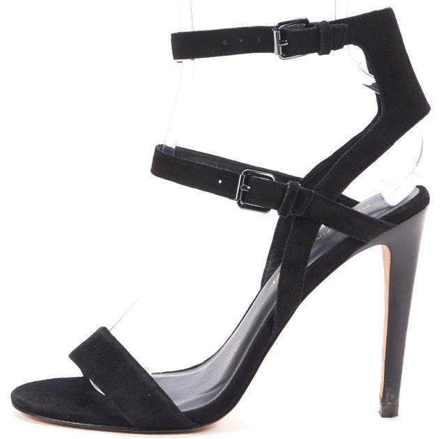 REBECCA MINKOFF Black Suede Ankle Strap Sandal Pumps