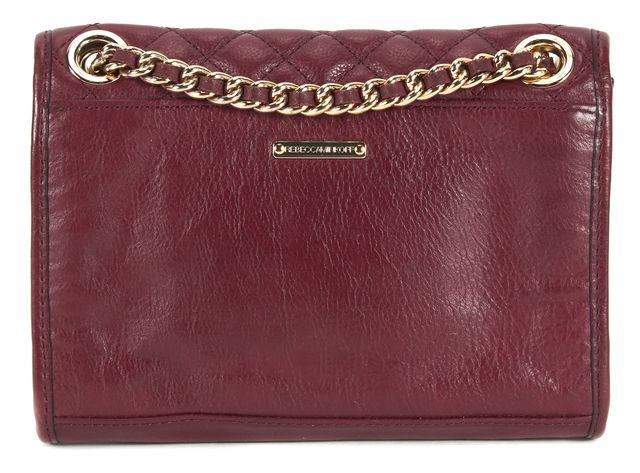 REBECCA MINKOFF Burgundy Leather Quilted Mini Affair Convertible Crossbody Bag