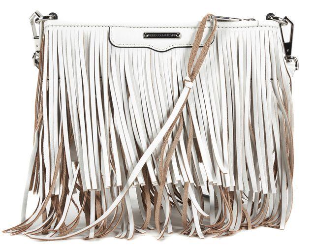 REBECCA MINKOFF White Beige Leather Fringe Silver Hardware Crossbody
