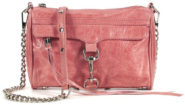 REBECCA MINKOFF Pink Leather Silver Chain M.A.C. Crossbody