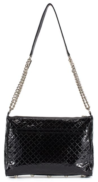 REBECCA MINKOFF Black Quilted Embossed Patent Leather Silver Chain Crossbody