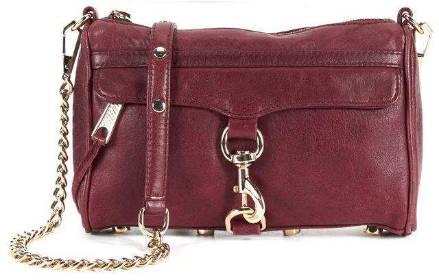 REBECCA MINKOFF Burgundy Red Leather Gold Chain Studded Bottom Crossbody