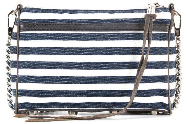 REBECCA MINKOFF Blue White Striped Canvas Leather Trim M.A.C. Crossbody Bag
