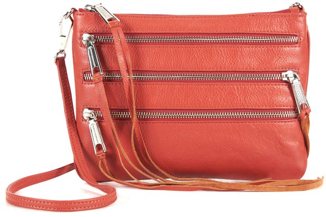REBECCA MINKOFF Red Pebbled Leather Three Zip Fringe Trim Crossbody
