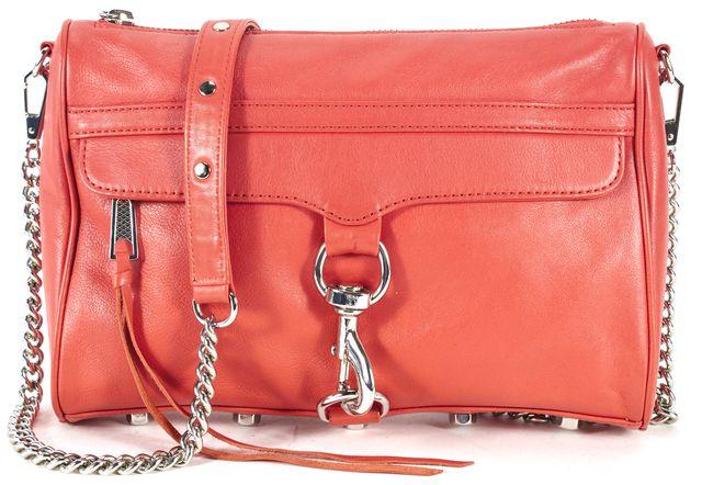 REBECCA MINKOFF Red Leather Silver Tone Hardware Chain Strap Crossbody
