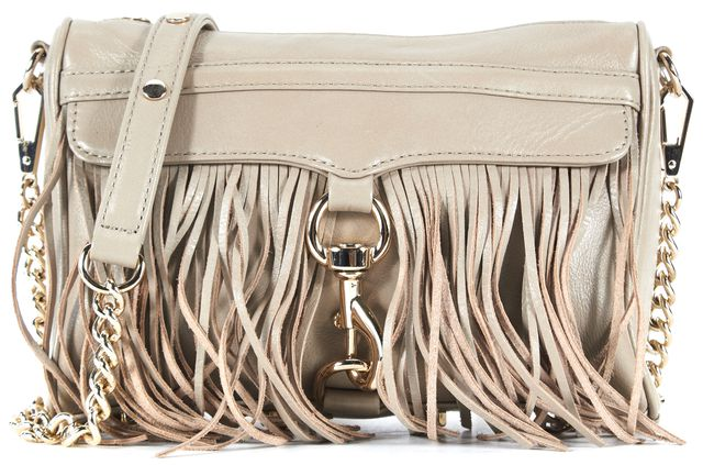 REBECCA MINKOFF Beige Leather Fringe Gold Hardware Convertible Crossbody