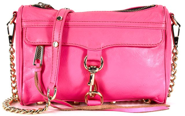 REBECCA MINKOFF Hot Pink Leather Gold Hardware M.A.C. Crossbody