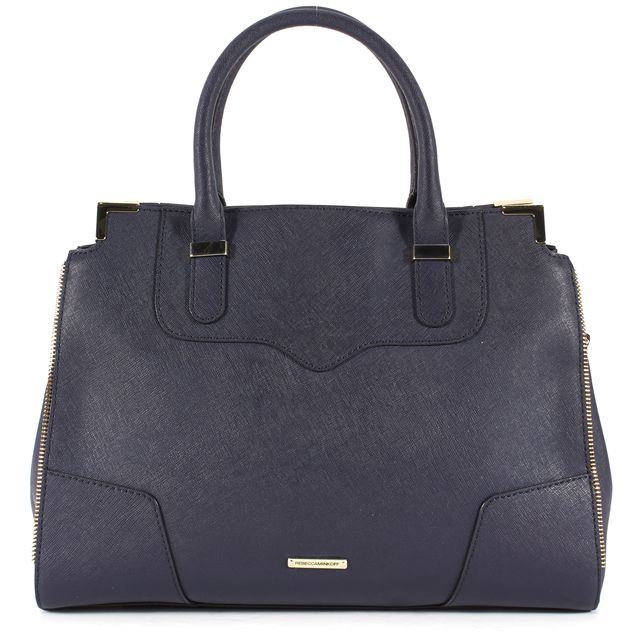 REBECCA MINKOFF Navy Blue Saffiano Leather Gold-Tone Hardware Satchel