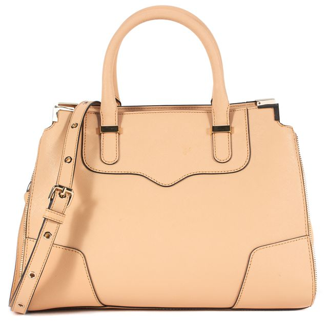 REBECCA MINKOFF Biscuit Beige Saffiano Leather Amorous Satchel Bag