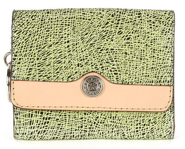 REBECCA MINKOFF Green Black Beige Leather Coin Purse Key Chain