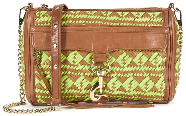 REBECCA MINKOFF Brown Leather Neon Yellow Woven Crossbody Bag