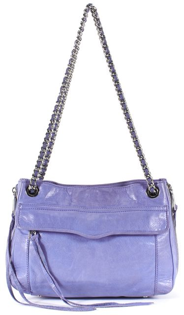 REBECCA MINKOFF Periwinkle Blue Leather Silver Chain Crossbody