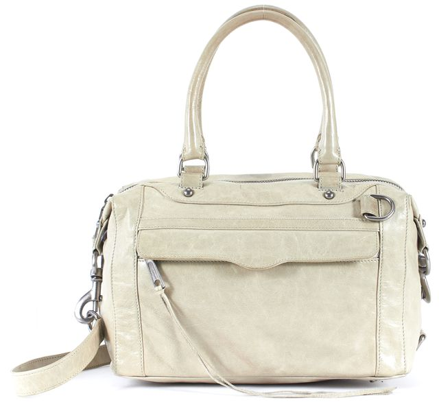 REBECCA MINKOFF Dove Gray Leather Morning After Bag Mini Satchel