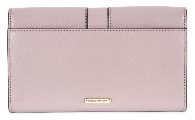 REBECCA MINKOFF Purple Pebbled Leather Stud Embellished Clutch