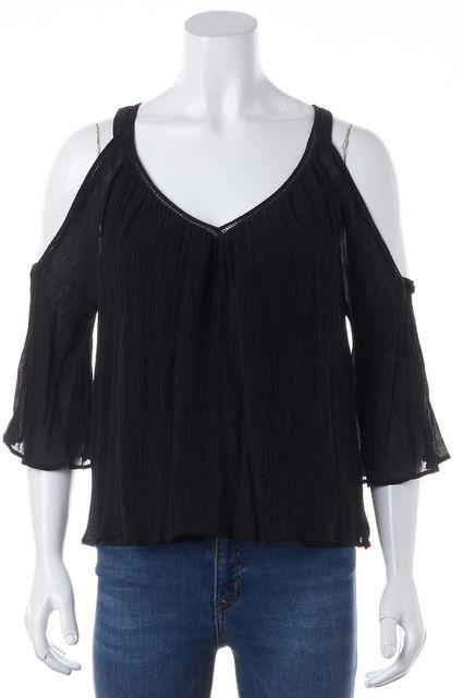 REBECCA MINKOFF Black 100% Cotton 3/4 Sleeve Open Shoulder Blouse Top