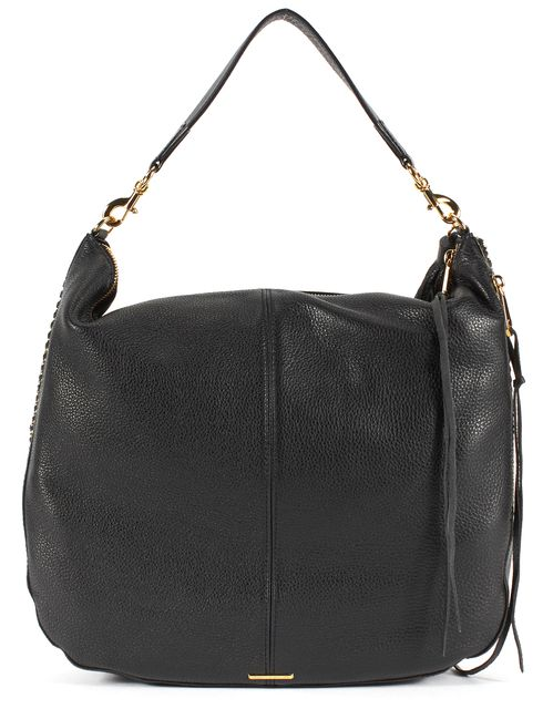 REBECCA MINKOFF Black Leather Gold Tone Chain Trim Hobo Shoulder Bag
