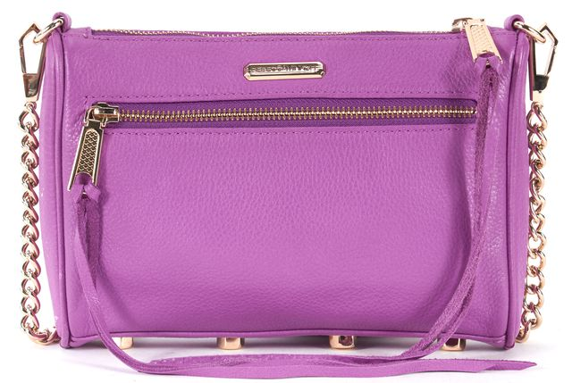 REBECCA MINKOFF Purple Pebbled Leather Multi Zip Gold Chain Strap Crossbody Bag